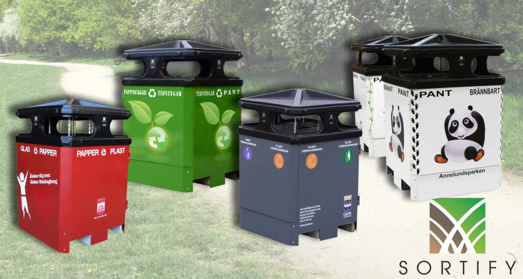 Sortify avfallsbeholder med fire fraksjoner