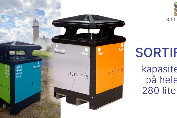 Funksjonell utendørs avfallsbeholder på hele 280 liter!
